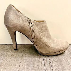 Merona Taupe Suede Heeled Ankle Booties